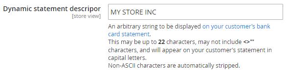 The «Stripe» → «Dynamic statement descripor» option.