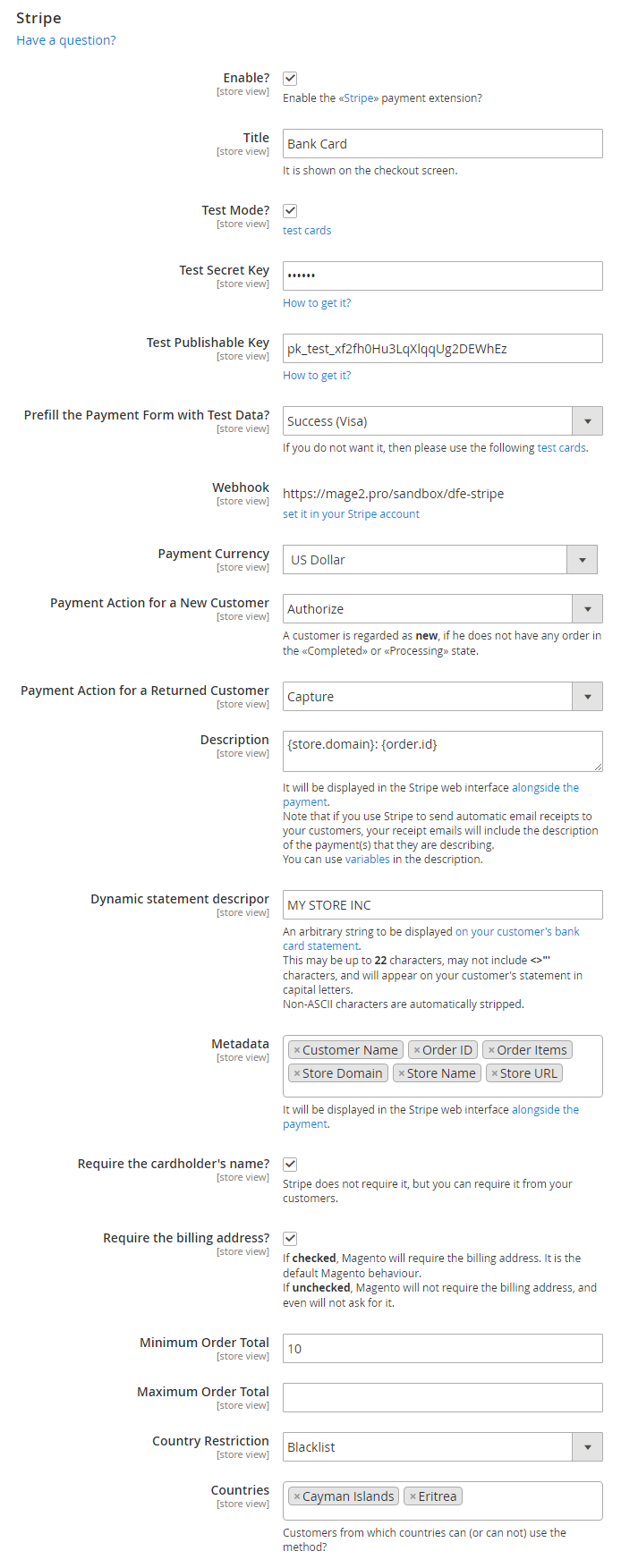 The «Stripe» extension settings in the Magento 2 backend
